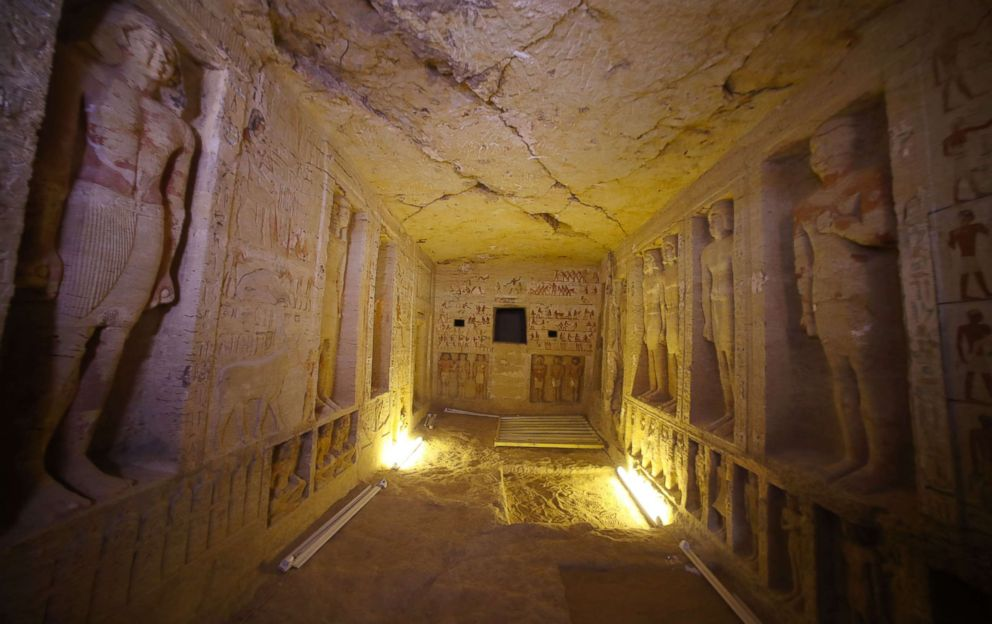 PHOTO: A view of statues inside the newly-discovered tomb of Wahtye, the Priest royal Purification during the reign of King Nefer Ir-Ka-Re, in Saqqara area, Giza, Egypt, Dec. 15, 2018.