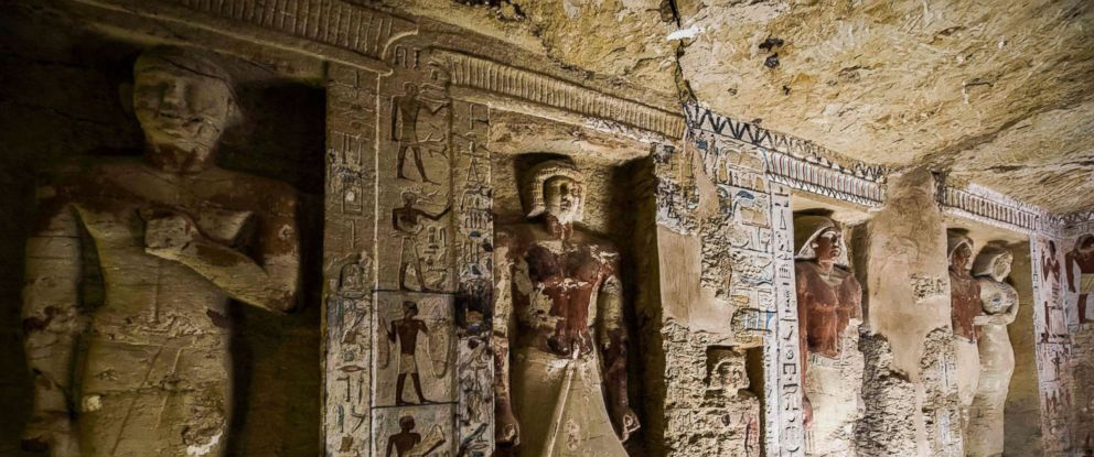 "PHOTO: A view of a newly-discovered tomb belonging to the high priest ""Wahtye"" who served during the fifth dynasty reign of King Neferirkare at the Saqqara necropolis, south of the Egyptian capital Cairo, Dec. 15, 2018."
