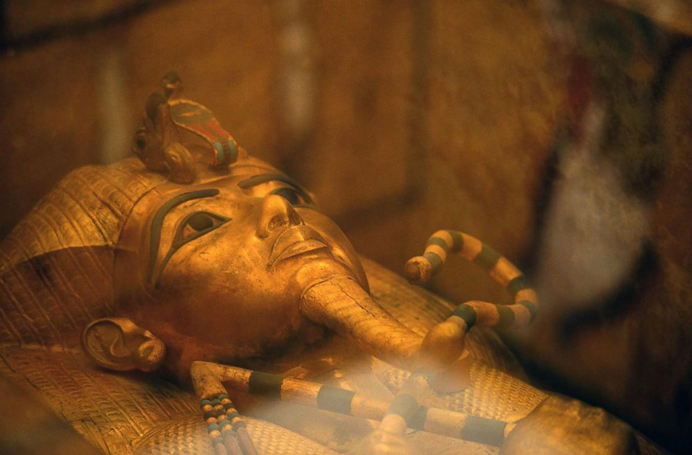 PHOTO: The head of the golden sarcophagus of the 18th dynasty Pharaoh Tutankhamun displayed in his burial chamber on the west bank of the Nile river opposite the southern Egyptian city of Luxor south of the capital Cairo.