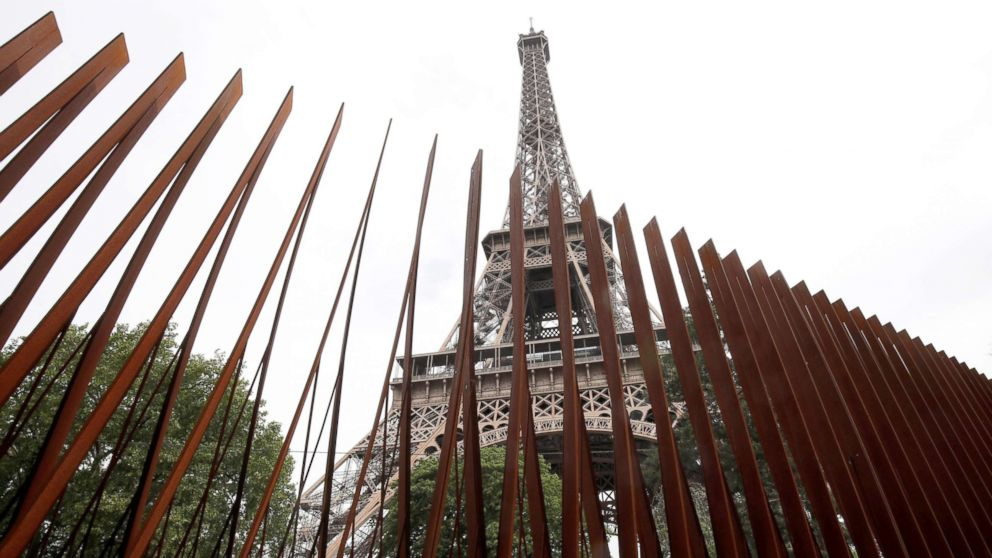 A security steel fence is pictured around the Eiffel Tower in Paris, June 14, 2018.
