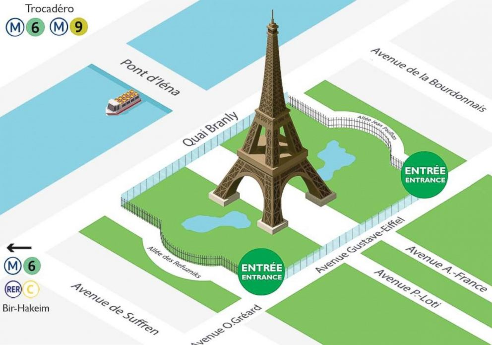 PHOTO: Graphic showing the future security perimeter with glass walls and fences around the Eiffel Tower. It will be unveiled in July 2018.
