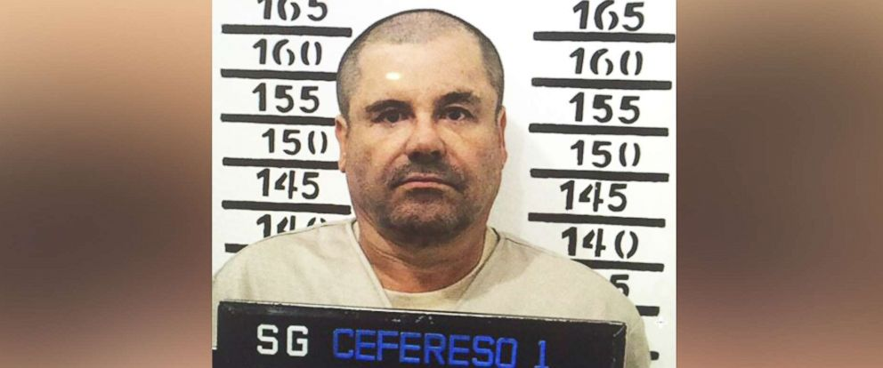 """PHOTO: Mexicos most wanted drug lord, Joaquin """"El Chapo"""" Guzman, stands for his prison mug shot at the Altiplano maximum security federal prison in Almoloya, Mexico, Jan. 8, 2016."""
