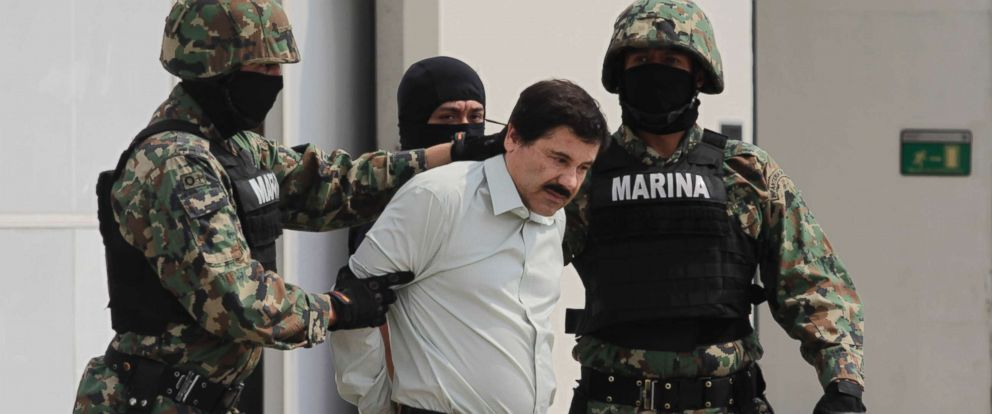 PHOTO: In this file photo, Joaquin El Chapo Guzman, leader of Mexicos Sinaloa drug Cartel, is pictured after capture, Feb. 22, 2014, in Mexico City.