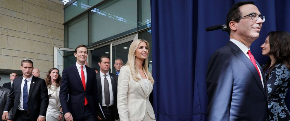 PHOTO: White House senior advisers Jared Kushner, Ivanka Trump, and Treasury Secretary Steven Mnuchin arrive for the opening ceremony at the U.S. consulate that will act as the new embassy in Jerusalem, Israel, May 14, 2018.