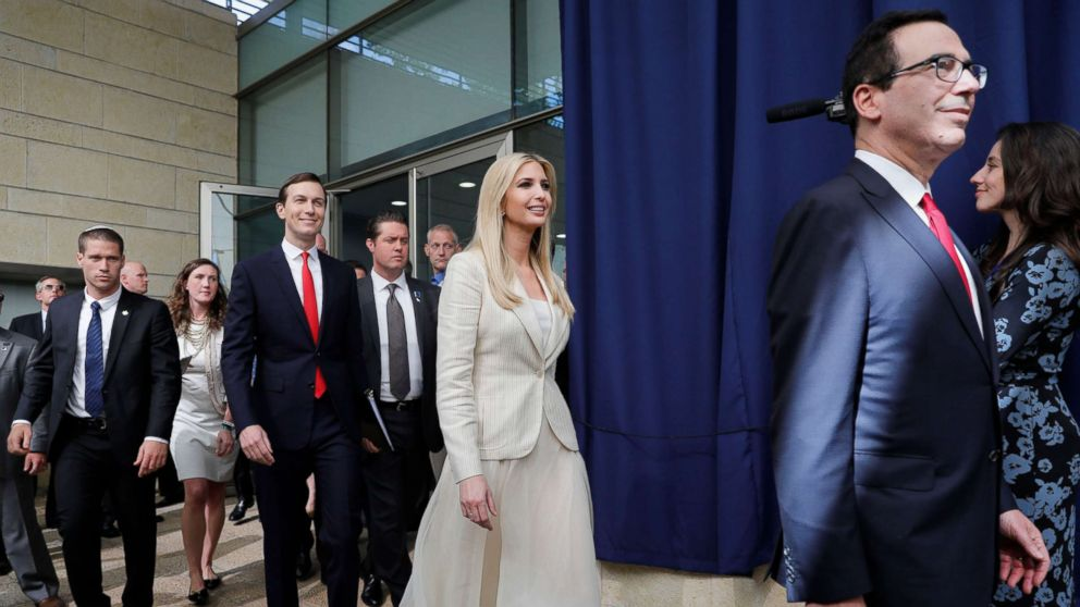 White House senior advisers Jared Kushner, Ivanka Trump, and Treasury Secretary Steven Mnuchin arrive for the opening ceremony at the U.S. consulate that will act as the new embassy in Jerusalem, Israel, May 14, 2018.