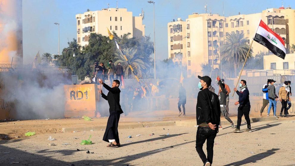 米兵火に催涙ガスを分散デモ参加者以外のバグダッド大使館