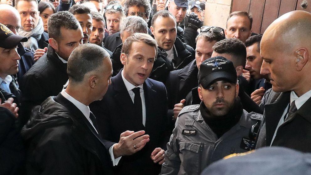 Der französische Präsident verliert seine kühlen im Streit mit israelischen Wachen in Jerusalem