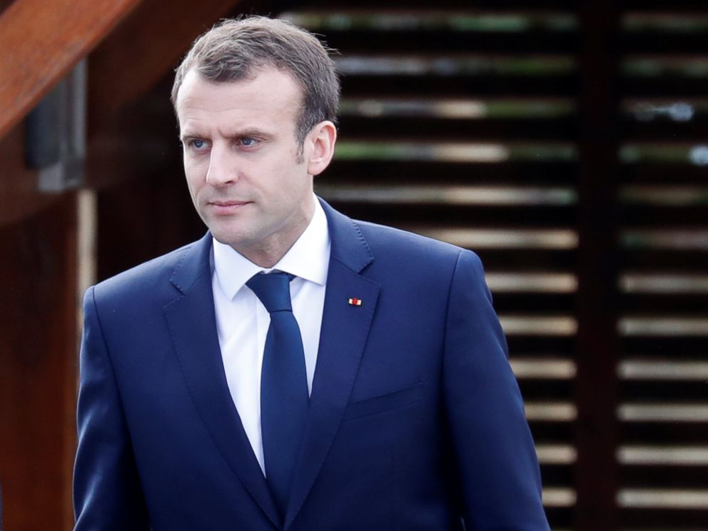 PHOTO: French President Emmanuel Macron arrives at an elementary school to attend a one-hour interview with French news channel TF1, in Berdhuis, France, April 12, 2018.