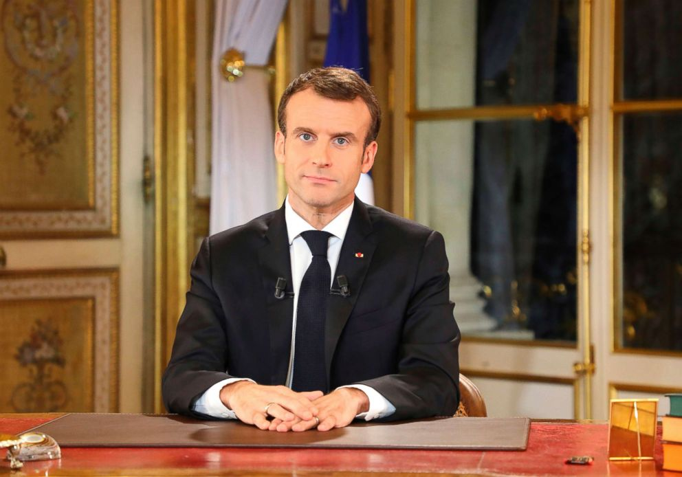 French President Emmanuel Macron speaks during a special address to the nation, his first public comments after four weeks of nationwide 'yellow vest' (gilet jaune) protests, on Dec. 10, 2018, at the Elysee Palace in Paris.