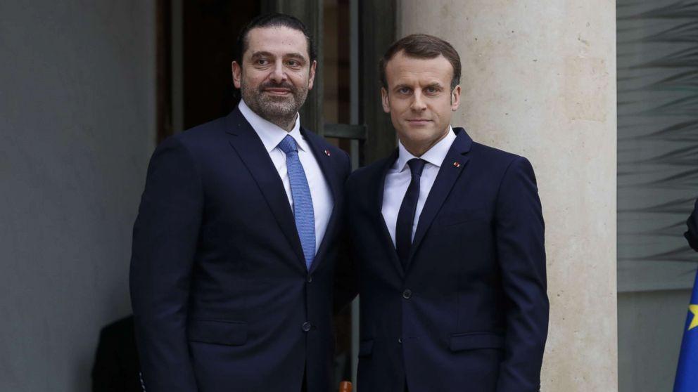 French President Emmanuel Macron welcomes Lebanese Prime Minister Saad Hariri at the Elysee Presidential Palace, Nov. 18, 2017 in Paris.