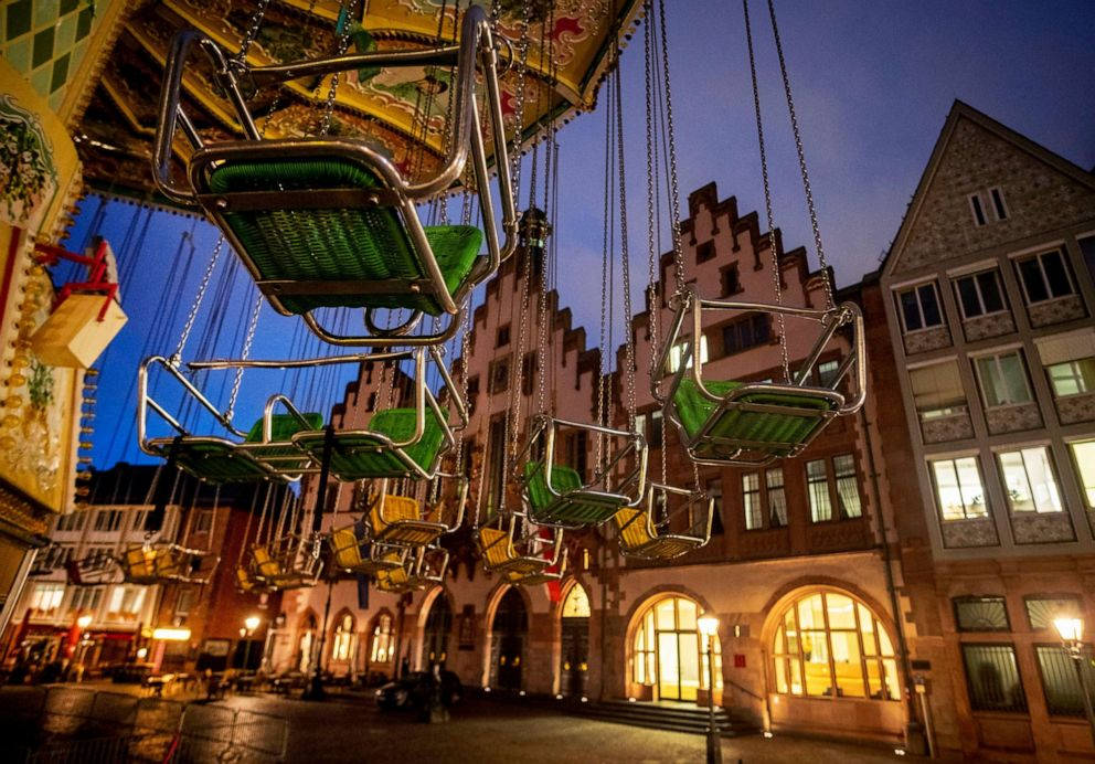 PHOTO: A chain carousel is seen in front of the town hall in Frankfurt, Germany, on Oct. 7, 2020.