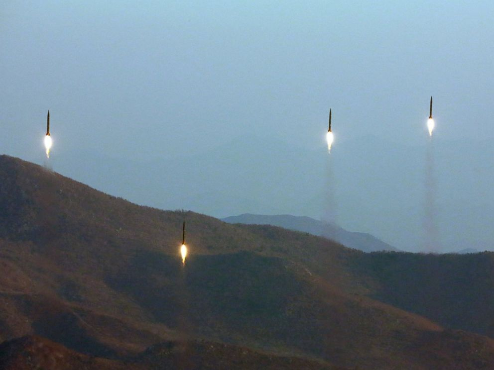 PHOTO: An undated photo made available by the North Korean Central News Agency on March 7, 2017, shows four projectiles during a ballistic rocket launching drill at an undisclosed location in North Korea.