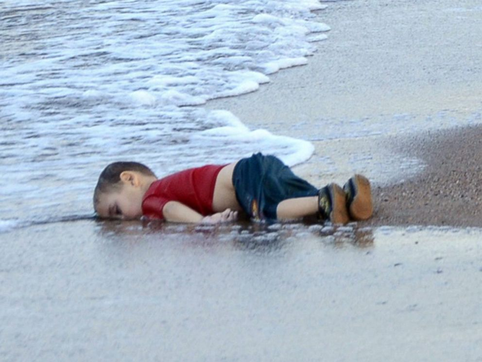 PHOTO: The body of of three-year-old Syrian refugee boy Aylan Kurdi is seen washed up on the shore in the coastal town of Bodrum, Mugla city, Turkey on Sept. 2, 2015.