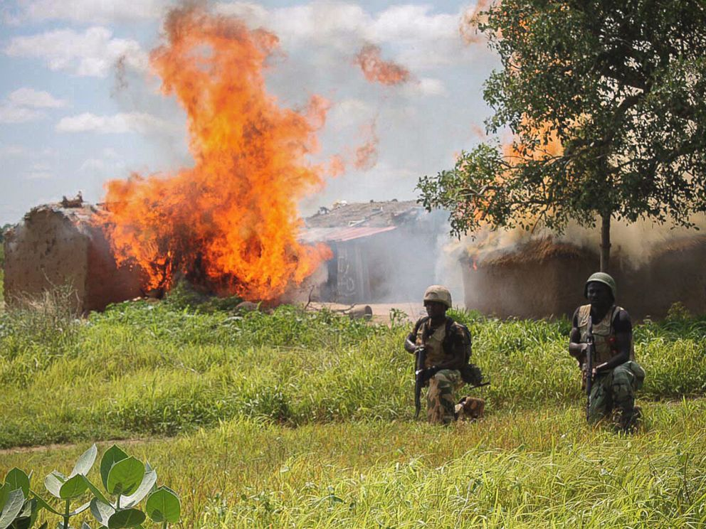 PHOTO: Nigerian soldiers clear Boko Haram camps at Chuogori and Shantumari in Borno State, Nigeria, July 30, 2015.