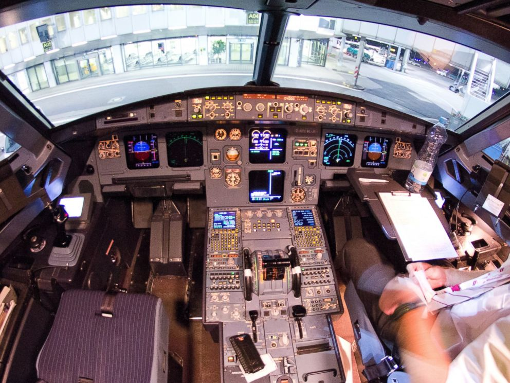 PHOTO: This picture shows a view of the interior cockpit of a Germanwings A320 aircraft in Dusseldorf, Germany on March 22, 2015.