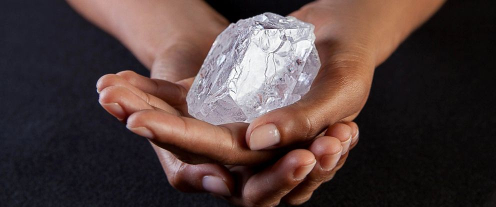 """PHOTO: A handout image provided by Sothebys on June 14, 2016 shows a 1109 carat diamond called """"Lesedi la Rona"""" which will be auctioned at Sothebys London on June 29, 2016."""