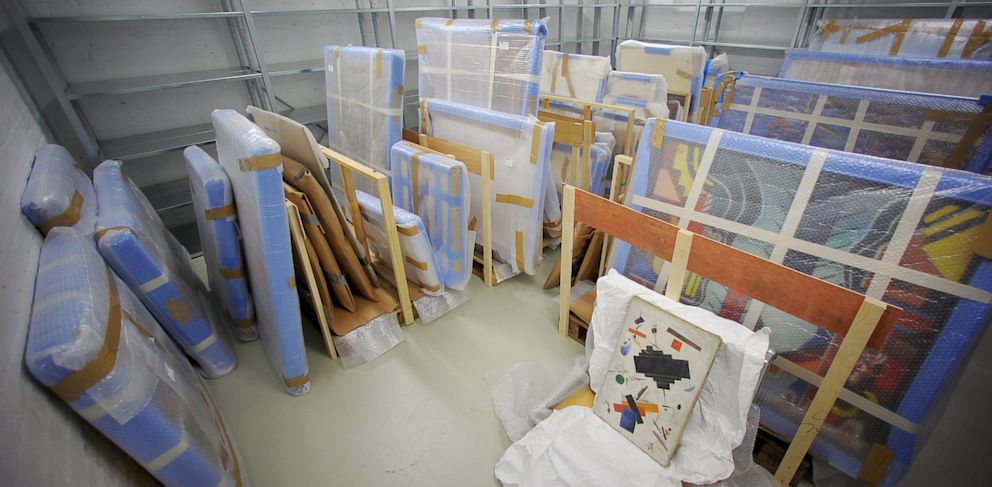 PHOTO: Confiscated paintings sit in a room in the basement of the Federal Criminal Police Office (BKA) in Wiesbaden, Germany, June 13, 2013.