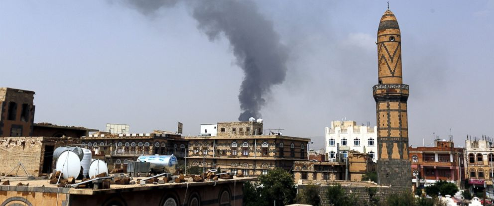 PHOTO: Smoke billows from a food factory allegedly targeted by a Saudi-led airstrike in Sanaa, Yemen, Aug. 9, 2016.