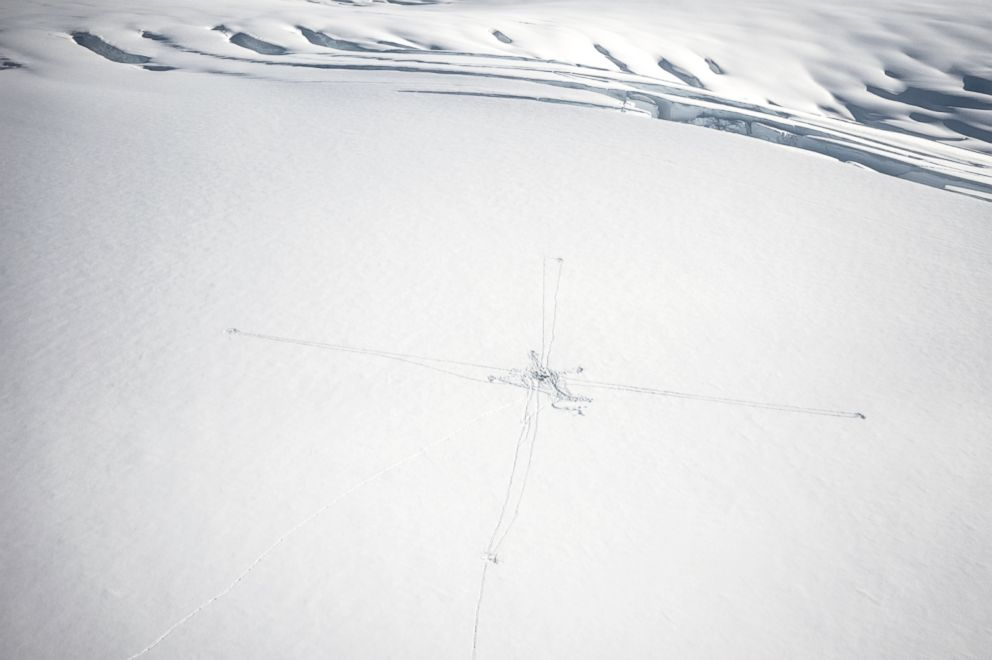 PHOTO: An aerial view of a just installed magnetotellurics station. Like a cat scan of the human body, it uses tomographic techniques by measuring the magnetic and electric fields. This method can image the earths structure down hundreds of feet.