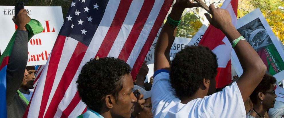 PHOTO:Members of the Eritrean-American community march near the UN Headquarters in New York City in protest of the Human Rights Abuse by their government, Oct. 29, 2015.