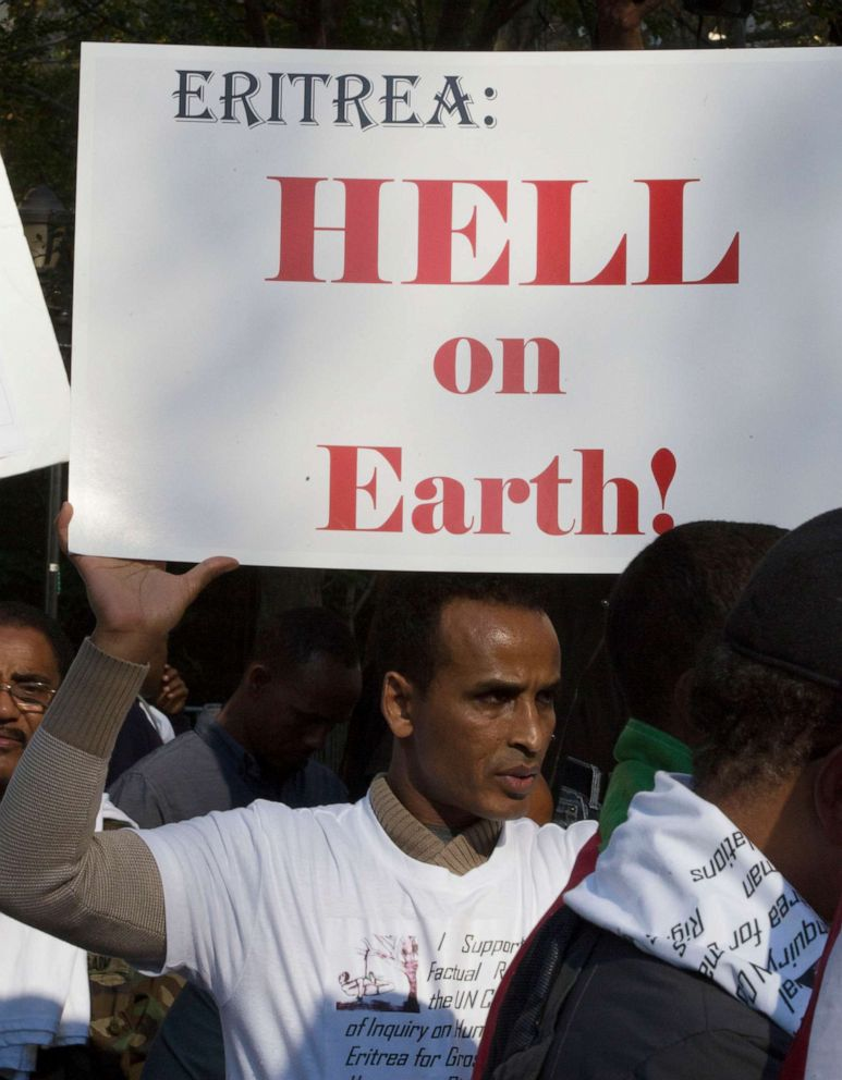 PHOTO: Members of the Eritrean-American community march near the UN Headquarters in New York City in protest of the Human Rights Abuse by their government, Oct. 29, 2015.