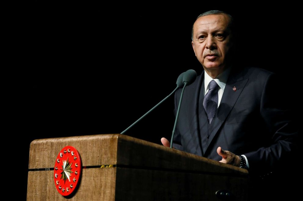 Erdogan speaks during a meeting in Ankara Turkey Oct. 24 2018