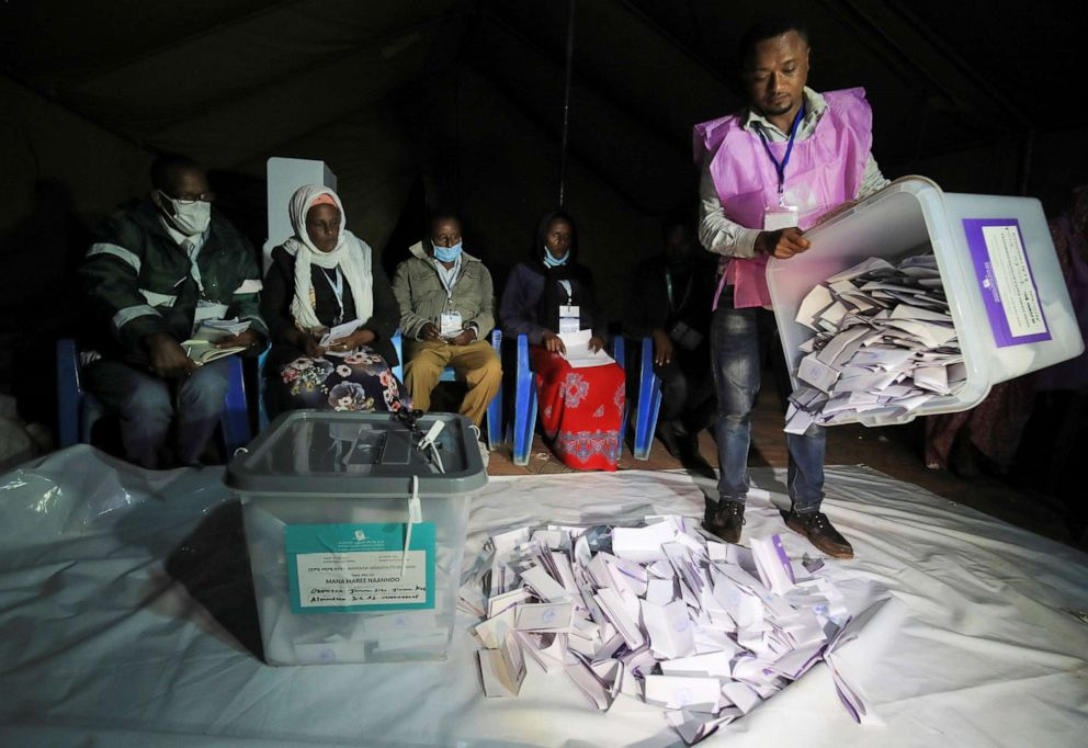 PHOTO: An election official empties a ballot box during the Ethiopian parliamentary and regional elections, in Jimma, Ethiopia, June 21, 2021.
