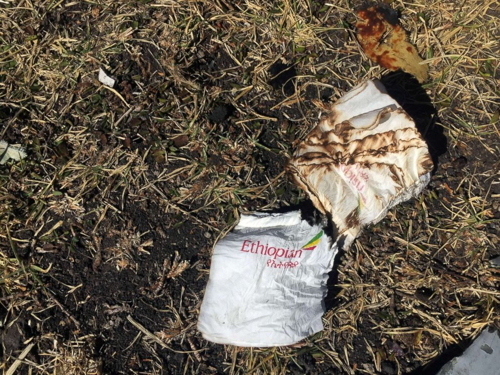 PHOTO: Cabin serviettes are seen at the scene of the Ethiopian Airlines Flight ET 302 plane crash, near the town of Bishoftu, southeast of Addis Ababa, Ethiopia, March 10, 2019.