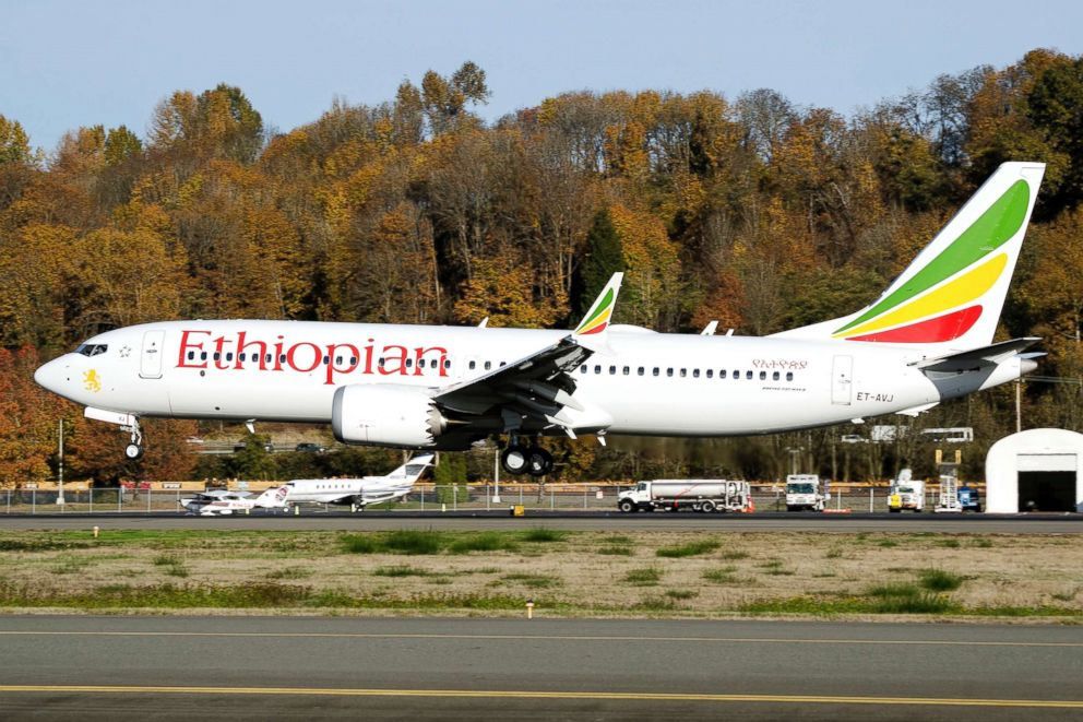 PHOTO: In this photo dated November 12, 2018, the actual Ethiopian Airlines Boeing 737 - Max 8 plane, that crashed on March 10, 2019 in Addis Ababa, Ethiopia, is pictured as it lands at Seattle Boeing Field King County International airport.