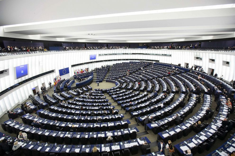 PHOTO: Members of the European Parliament (MEPs) attend a session in the hemicycle at the European Parliament in Strasbourg, France, March 12, 2019.