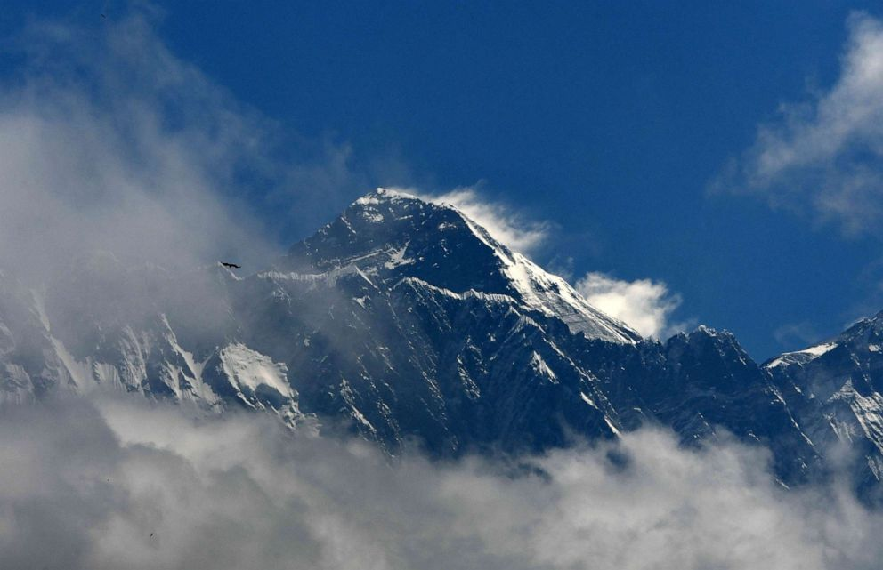 PHOTO: Mount Everest is seen in the Everest region, some 87 miles northeast of Kathmandu, May 27, 2019.