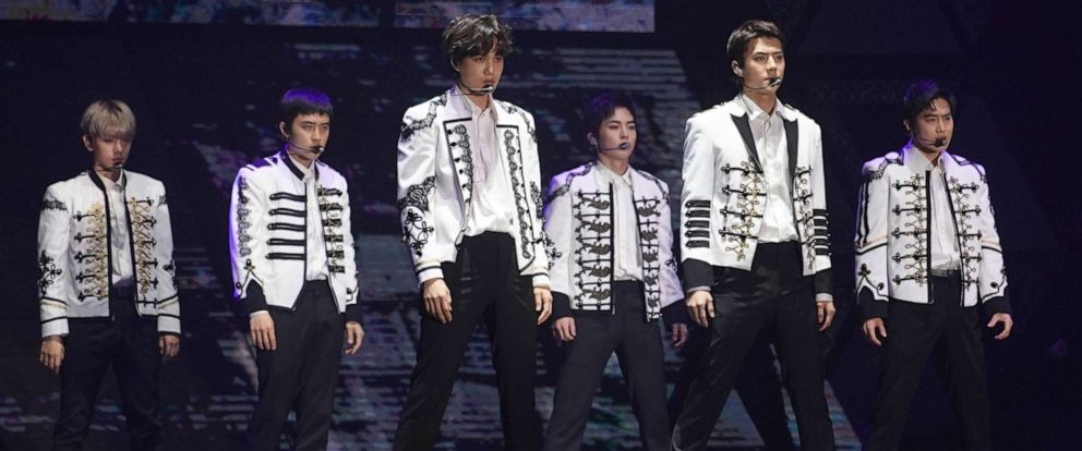 PHOTO: South Korean boy group Exo perform onstage during their The ElyXiOn concert on June 2, 2018 in Hong Kong.