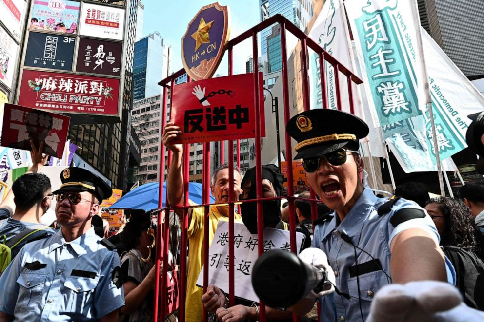 PHOTO:Demonstrators attend a protest in Hong Kong, April 28, 2019, against a controversial move by the government to allow extraditions to the Chinese mainland.