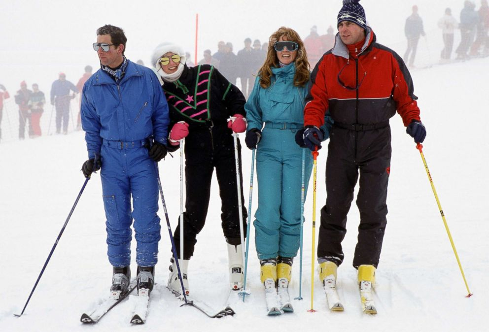 The Prince And Princess Of Wales With The Duke And Duchess Of York during a skiing holiday in Klosters, Switzerland, Feb. 17, 1987.