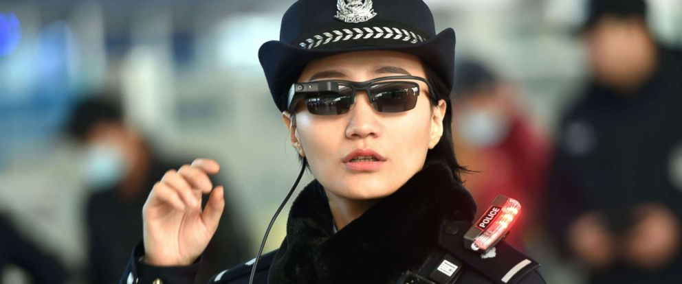 PHOTO: A police officer wearing a pair of smartglasses with a facial recognition system at Zhengzhou East Railway Station in Zhengzhou in Chinas central Henan province, Feb. 5, 2018.