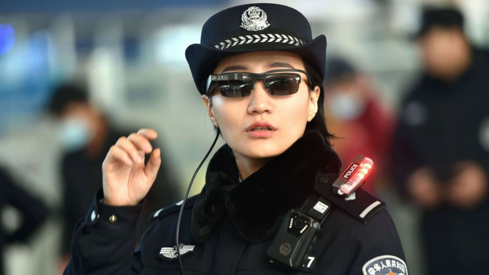 Police in China wearing facial-recognition glasses