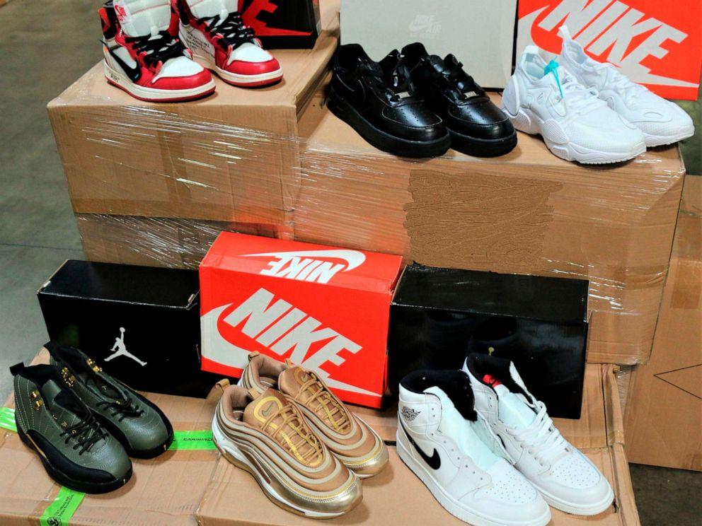 PHOTO: This undated photo provided by U.S. Customs and Border Protection shows some of more than 14,800 pair of counterfeit Nike shoes, seized in a shipment arriving from China at the Los Angeles-Long Beach ports complex.