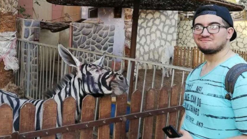 Zoo visitor Mahmoud Sarhan posted a photo on Facebook on July 21, 2018, showing him posing with what he said was a donkey painted to look like a zebra at Cairo's International Garden public park.