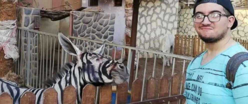 PHOTO: Zoo visitor Mahmoud Sarhan posted a photo on Facebook on July 21, 2018, showing him posing with what he said was a donkey painted to look like a zebra at Cairos International Garden public park.