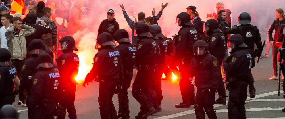 PHOTO: Protesters light fireworks during a far-right demonstration in Chemnitz, Germany, Aug. 27, 2018.