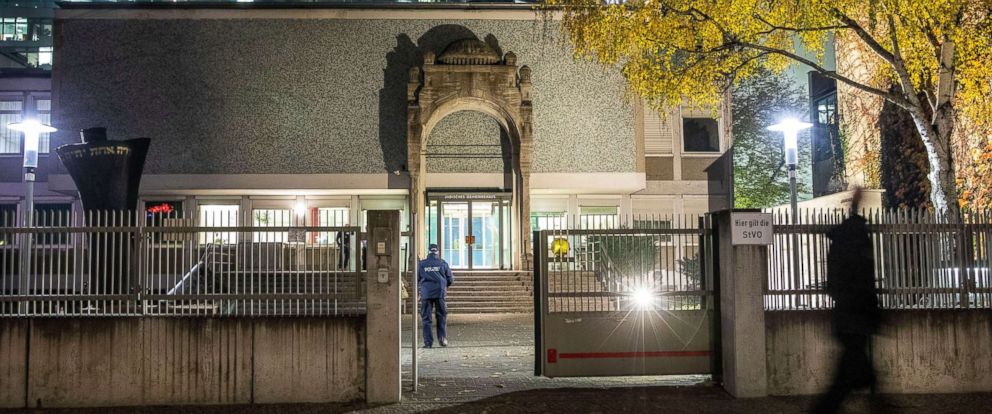 PHOTO: A stone arch, one of only two remains of the original architecture of the Fasanenstrasse synagogue decorates a Jewish Community Center in Fasanenstrasse street in Berlin, Nov. 7, 2018.