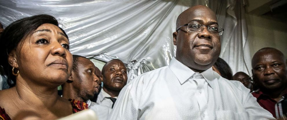 Felix Tshisekedi reacts a few minutes after he was declared winner of the presidential election following the announcement of the provisional results by the Independent National Electoral Commission in Limete, Kinshasa, Jan. 10, 2019.