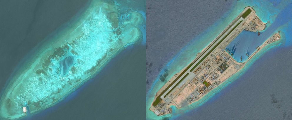 PHOTO: DigitalGlobe overview imagery comparing Fiery Cross Reef from May 31, 2014 to June 3, 2016. Fiery Cross is located in the western part of the Spratly Islands group.