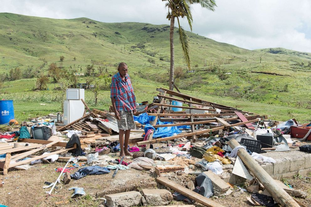 PHOTO: Naresh Kumar of Tuvu Lautoka looks at the remains of his house after it was destroyed by Cyclone Winston in Tuvu Lautoka on Feb. 22, 2016, in Fiji.