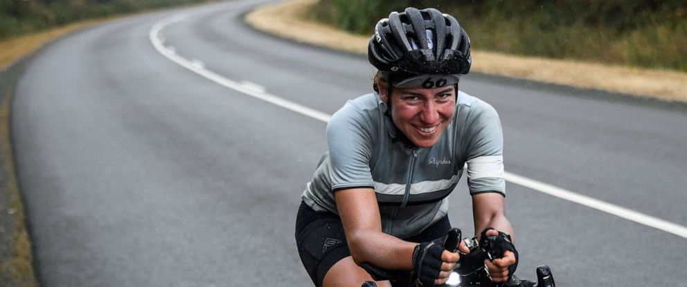 PHOTO: Cancer researcher Fiona Kolbinger, 24, of Heidelberg, Germany, rides her bicycle on Aug. 5, 2019 in Teillay, Brittany, on her way to become the first woman to win the over 2,485-mile ultra-distance cycling Transcontinental Race across Europe.