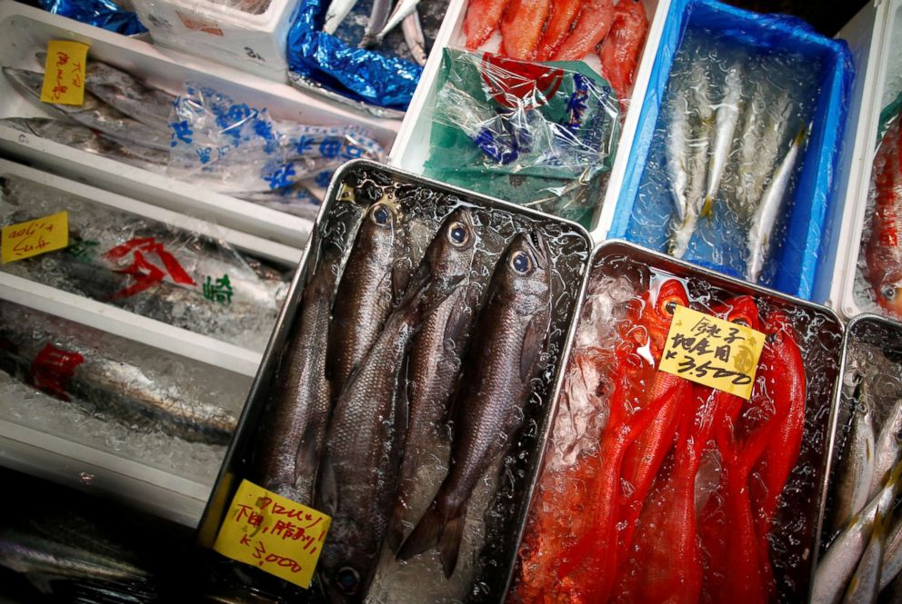 PHOTO: Japanese black-blue fish are displayed beside other fish for sale at the Tsukiji fish market in Tokyo, Sept. 29, 2018.