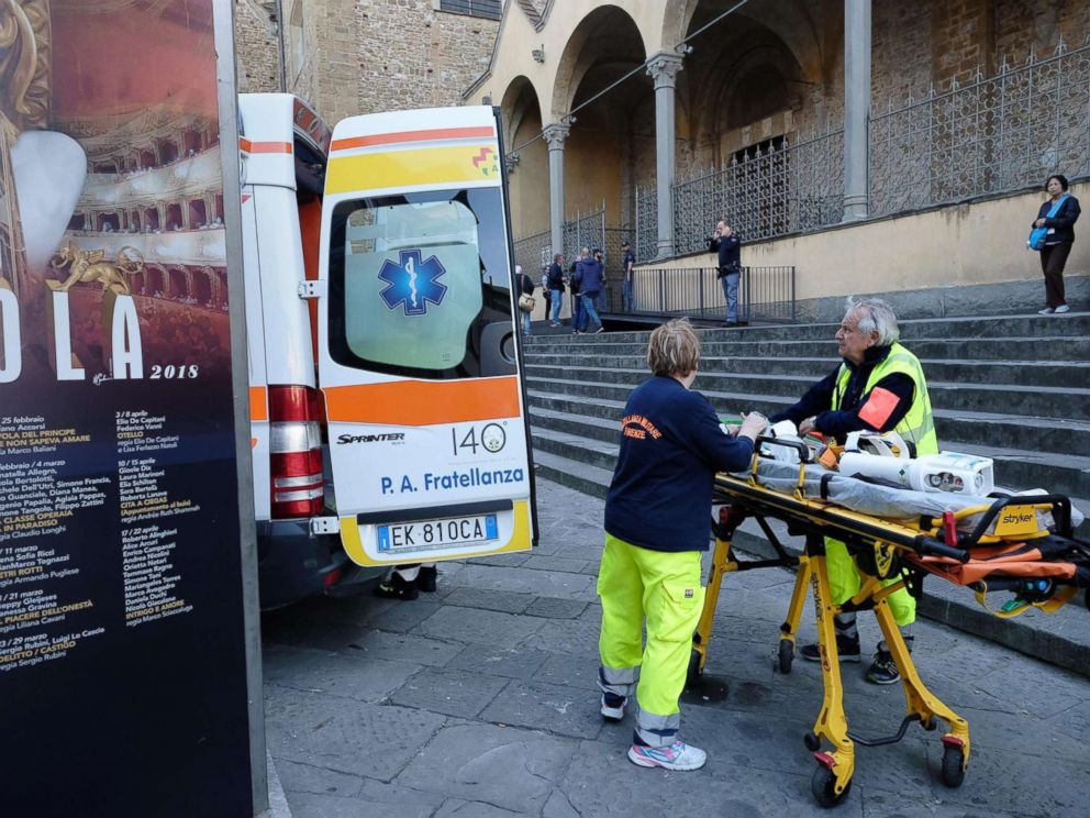 PHOTO: Medical personnel outside Santa Croce Basilica where a 52-year-old Spanish tourist was killed after being struck by a piece of masonary that fell off the top of a nave in Santa Croce Basilica in Florence, Italy, Oct. 19, 2017.