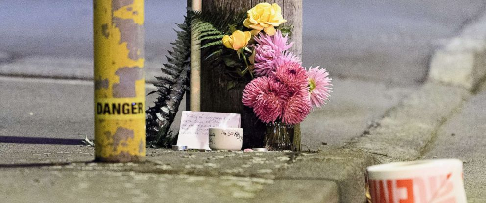 PHOTO: A floral tribute is seen on Linwood Avenue near the Linwood Masjid, one of the two mosques targeted in the attacks on March 15, 2019 in Christchurch, New Zealand.