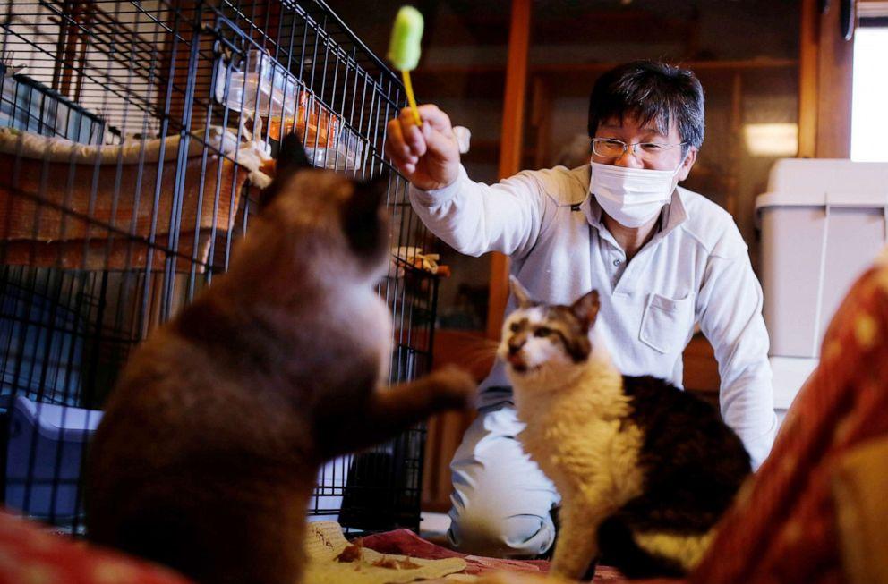 FOTO: Sakae Kato juega con gatos que rescató, llamados Mokkun y Charm, ambos infectados con el virus de la leucemia felina, en su casa, en una zona restringida en Namie, Prefectura de Fukushima, Japón, el 20 de febrero de 2021.
