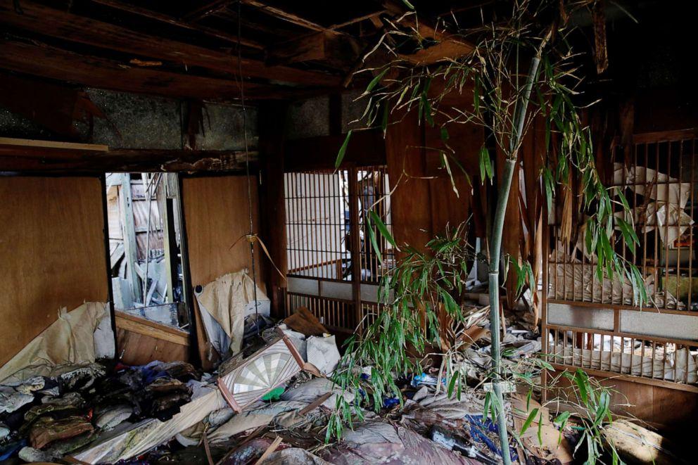 FOTO: Un árbol de bambú crece dentro de la casa colapsada de Hisae Unuma en la que vivía antes de ser evacuada, que se encuentra a 2,5 km de la dañada planta de energía nuclear de Fukushima, en una zona restringida en Futaba, prefectura de Fukushima, Japón, el 23 de febrero de 2021.
